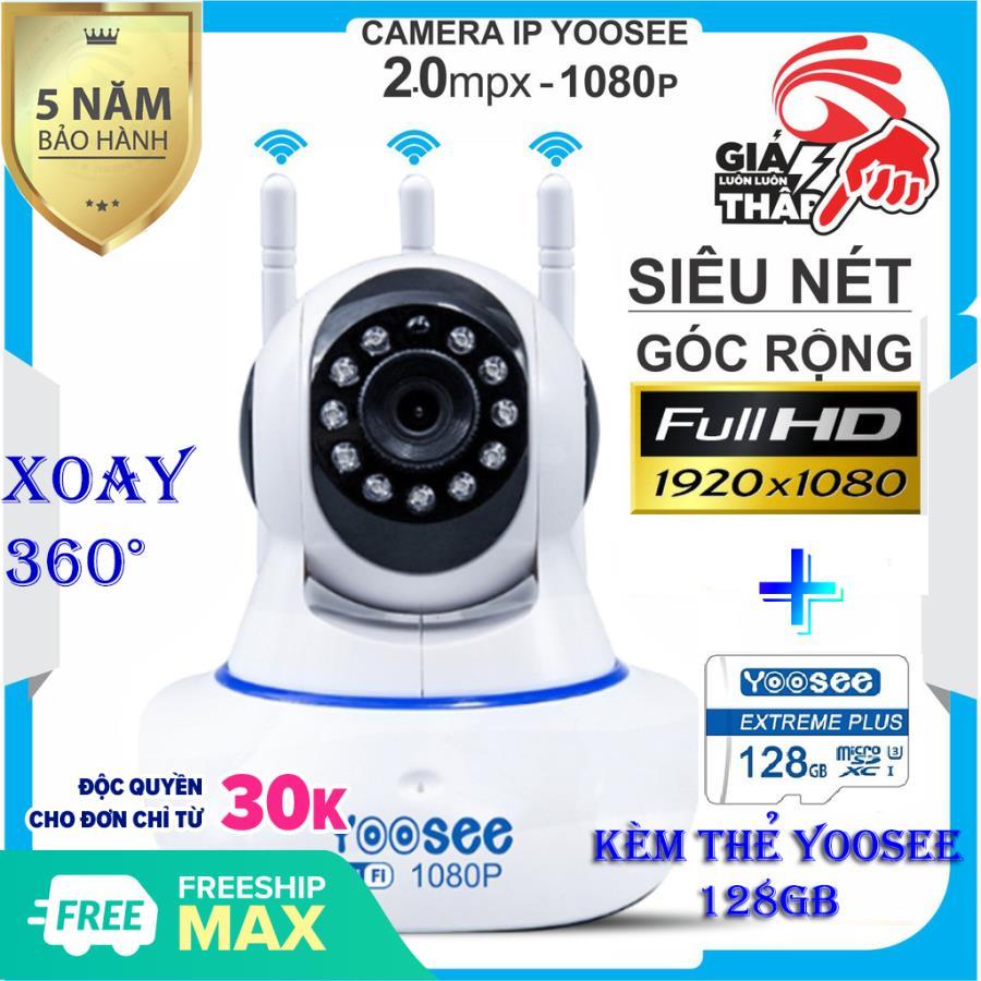 (KÈM thẻ nhớ Cty CHUẨN 128 GB BẢO HÀNH 5 Năm) Camera IP Wifi Yoosee 3 Râu 2.0 MP FULL HD , xoay 360 độ , CAMERA Không Dây Phiên Bản 2019 , Tích hợp cảm biến hồng ngoại , ghi âm giọng nói , lưu trữ video
