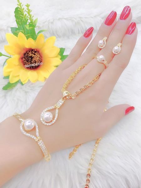 [Siêu khuyến mãi] Bộ trang sức mạ vàng 18K cao cấp JK Silver, cam kết không đen ,không bay màu, không gây dị ứng, thích hợp đi tiệc, làm quà tặng, dây chuyền nữ ,bông tai nữ,nhẫn nữ,lắc tay nữU.bo35v