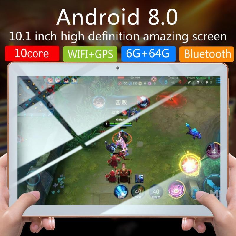Máy tính bảng hệ thống Android 10 inch Android 8.0 Octa Core Máy tính bảng 10 inch RAM 1GB RAM 16GB ROM 5MP WIFI A-GPS 3G LTE Kính cường lực IPS 1280 * 800