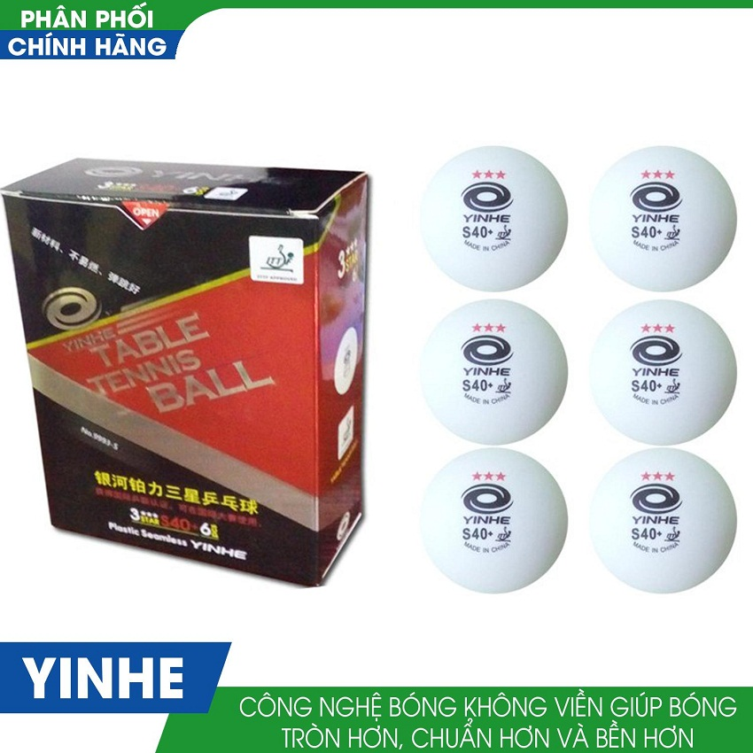 Bảng giá Quả bóng bàn yinhe 40+ hộp màu đỏ 6 quả bóng không mối nối BB002