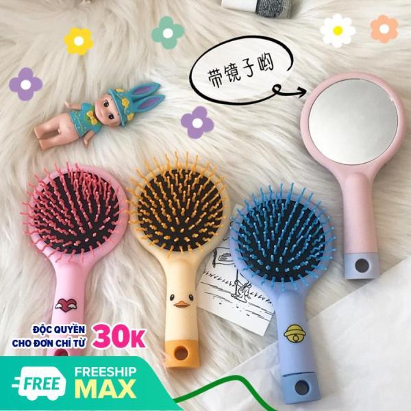 [Sẵn 4 màu] Lược chải tóc có gương 2in1 massage da đầu chống rụng tóc- KinaKino phukienlamdep nhập khẩu