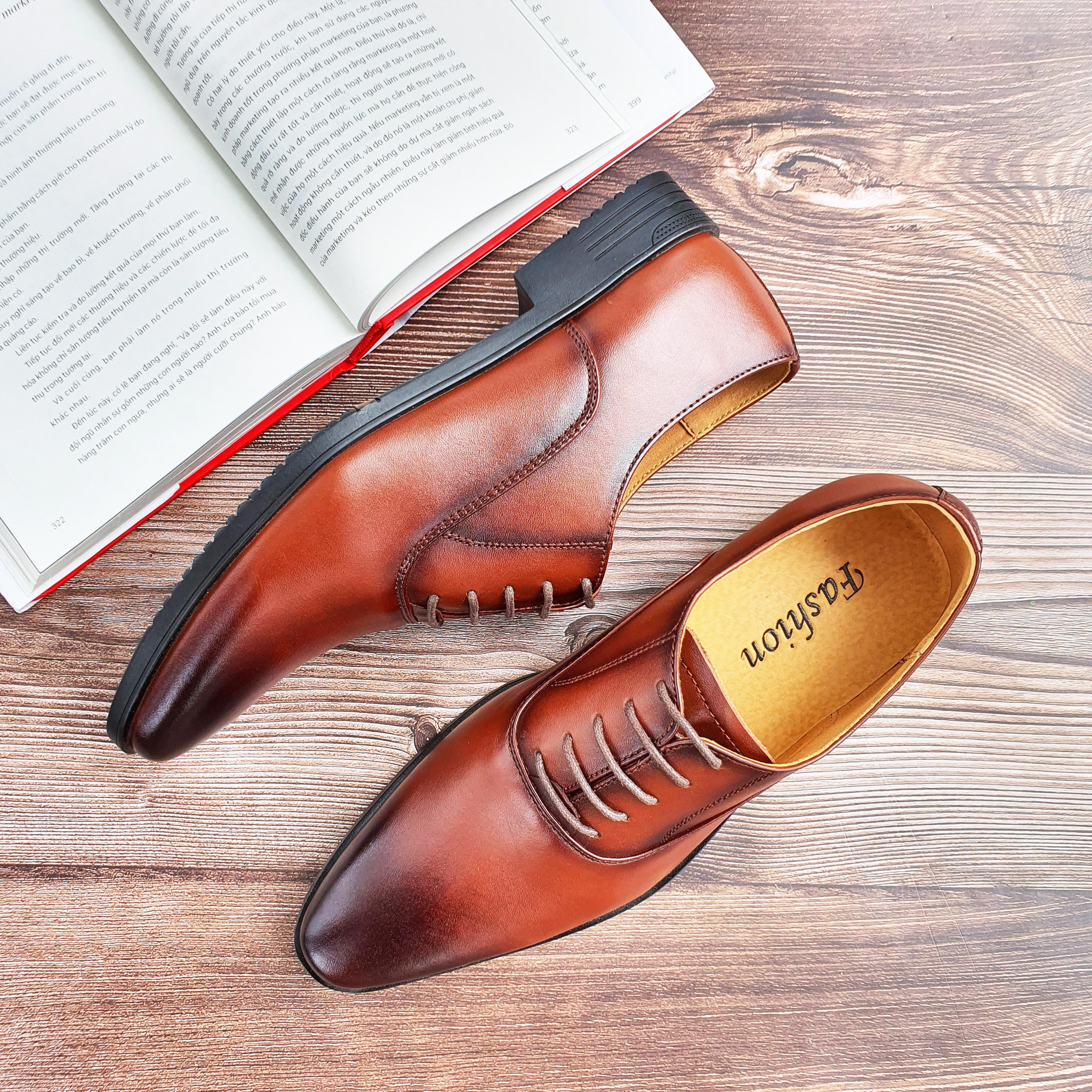 Giày Dây Nam Da Bò Thật Cao Cấp, Giày Tây Công Sở Mới, Giày Da Nam Da Thật, Bảo Hành 12 Tháng, Tặng Kèm Xi Bóng và Lót Da