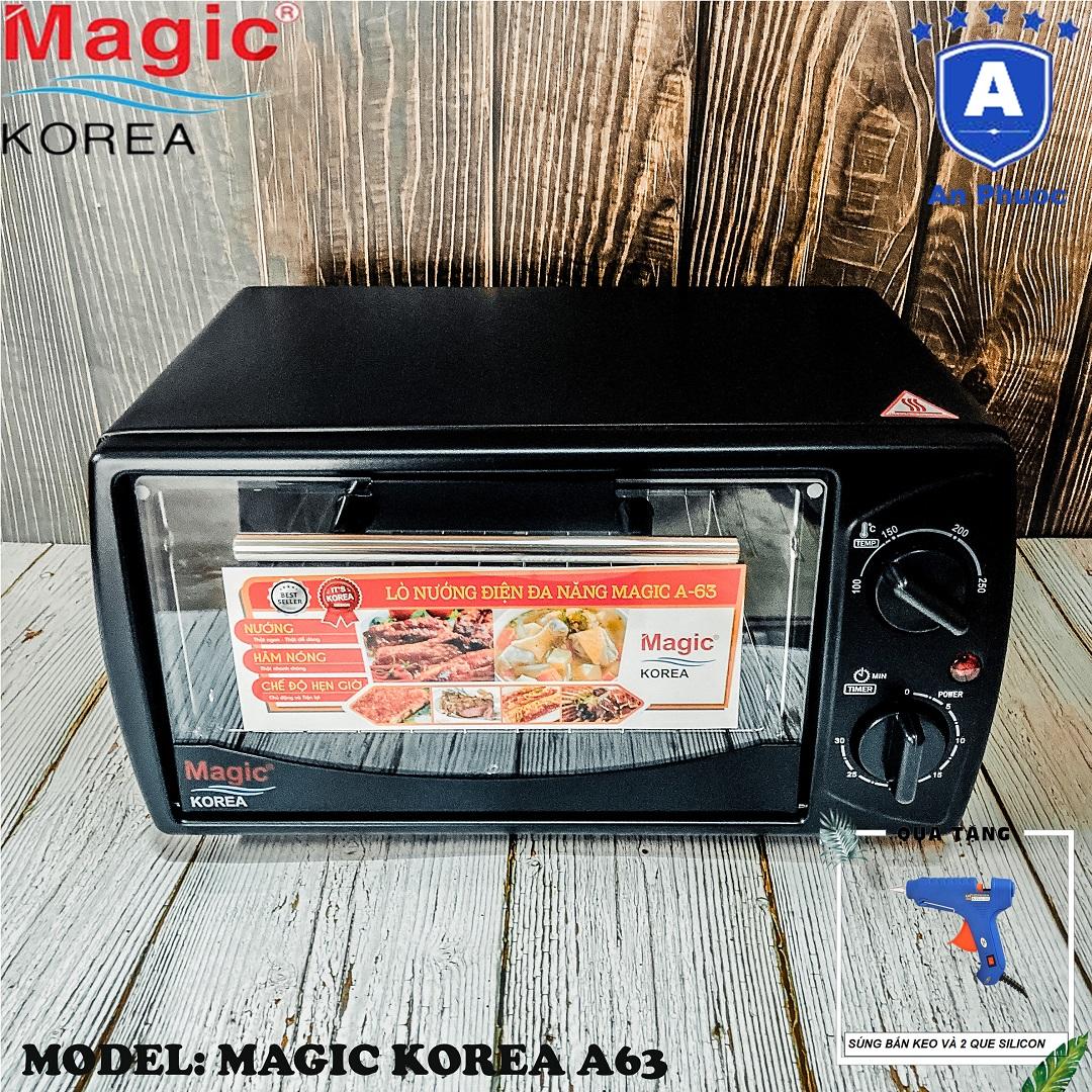 Lò nướng bánh mini Magic Korea A63 | Dung tích 12 Lít | Công suất 1000W | Màu đen | Bảo Hành Chính Hãng 12 Tháng | Tặng Máy Bắn Keo Kèm 2 Que Silicon