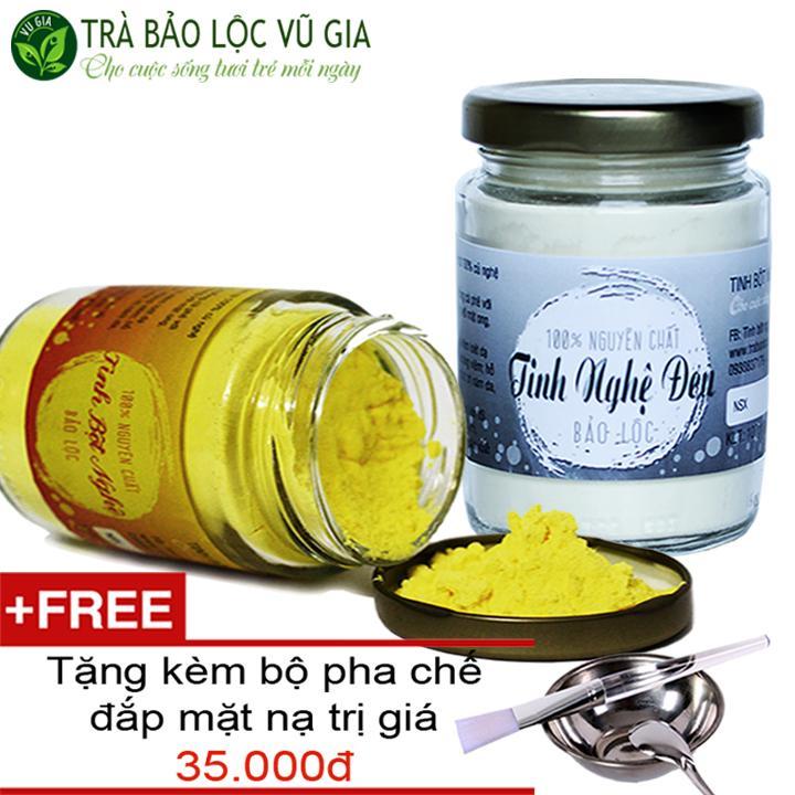 Combo Tinh Bột Nghệ + Tinh Nghệ Đen Nguyên Chất VG (100gr/túi/ hũ) + Tặng Bộ Đắp Mặt nhập khẩu