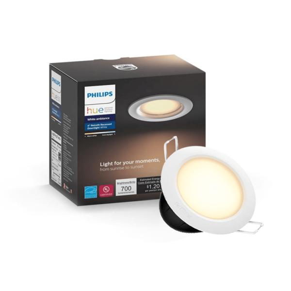 Đèn LED âm trần thông minh Philips Hue White Ambiance Dimmable Downlight có thể điều khiển từ xa