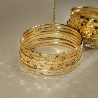 [Khuyến mãi lớn - Hàng mới về] Bộ vòng ximen 7 chiếc mạ vàng 18K cao cấp JK Silver , giống vàng thật 99% ,cam kết không đen, không bay màu, đeo cực sang chảnh, thích hợp đi tiệc, mua làm quà tặng, trang sức nữ vàng, lắc tay nữ, (TH.ximen09) thumbnail