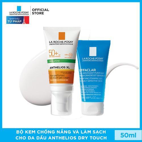 Bộ kem chống nắng và làm sạch cho da dầu La Roche-Posay Anthelios Dry Touch 50ml nhập khẩu