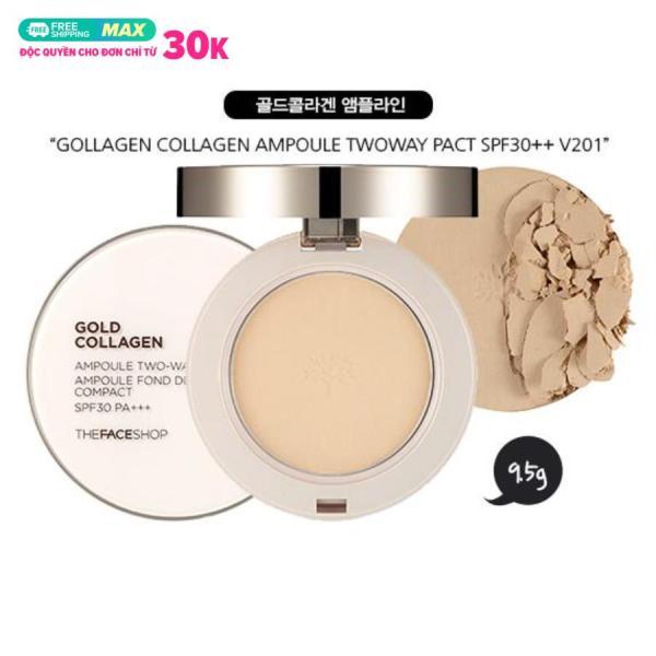 Phấn Phủ Dạng Nén Siêu Mịn Chiết Xuất Từ Collagen & Ngọc Trai The Face Shop Gold Ampoule Pact 9.5g (100% From South Korea) giá rẻ