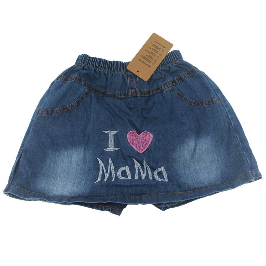 Giá bán Quần váy jean cotton bé gái, Quần short jean cotton giả váy bé gái 3-10 tuổi