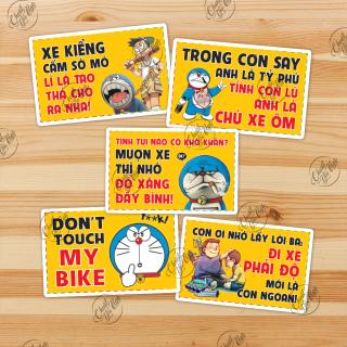 Bộ 5 miếng dán cảnh báo vui Doraemon Mượn xe nhớ đổ xăng thumbnail