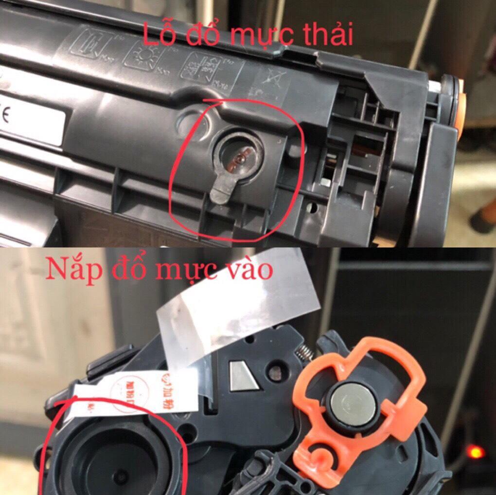 hộp mực dùng máy in canon 2900 có lỗ đổ mực và đổ thải thuận tiện, hộp mực 12a bản in 2000 trang in với độ phủ 5%