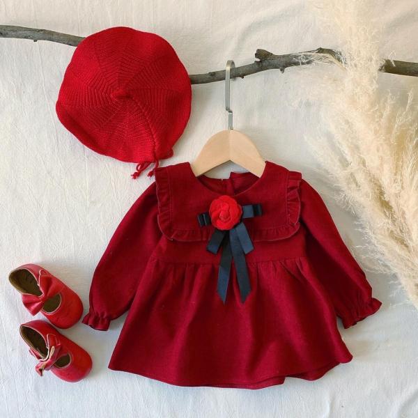 Váy đỏ cổ vuông nơ hoa hồng cực yêu cho bé - VBG-nơ-hh