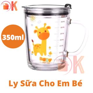 Ly sữa cho em bé nhiều hình hoạt hình ANIMALS ADORABLE bằng thuỷ tinh 350ml TẶNG ( Nắp + Ống hút ) TP-L019 thích hợp làm quà tặng thumbnail