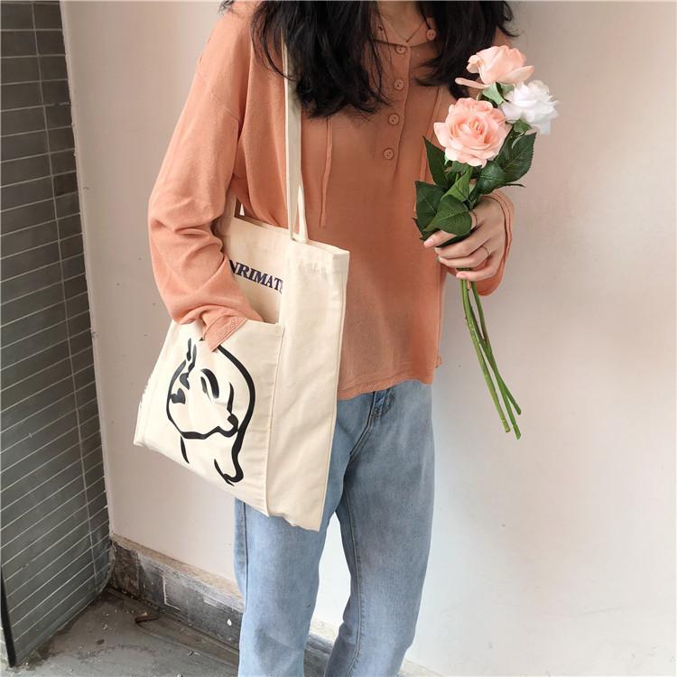 Túi tote màu kem vintage hình cô gái - MD05