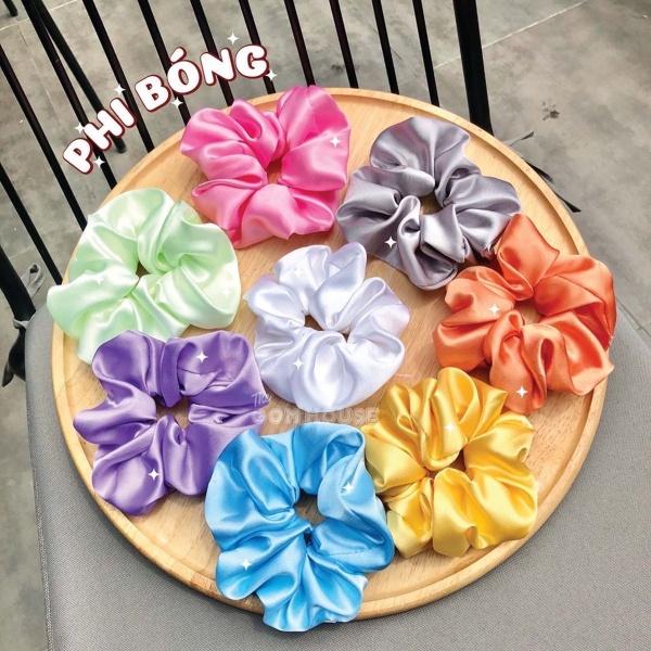 Scrunchies phi bóng nhiều màu xinh xắn cao cấp