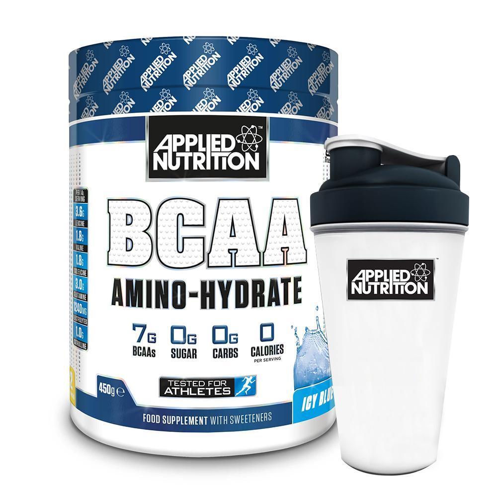 Combo BCAA Amino Hydrate 32 lần dùng phục hồi cơ tăng sức bền & bình lắc