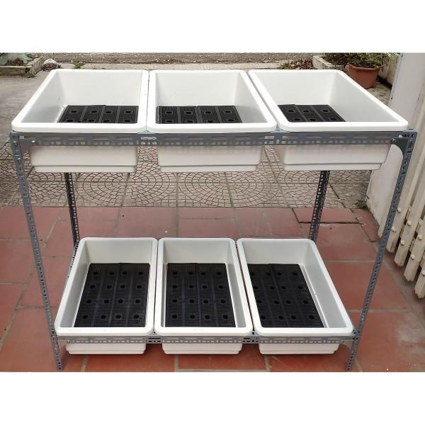 Kệ sắt trồng rau thông minh 2 tầng dùng cho 6 khay trồng rau
