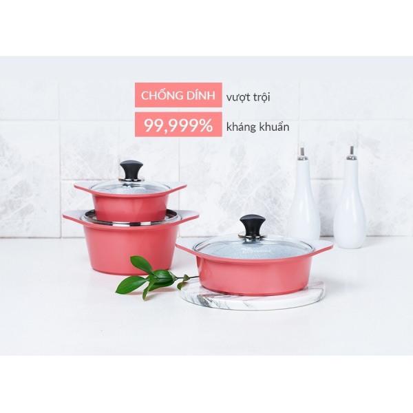 Ecoramic- Bộ 3 nồi ceramic đáy từ công nghệ Hàn Quốc (20-22-24)+ Tặng cặp nhấc nồi silicon