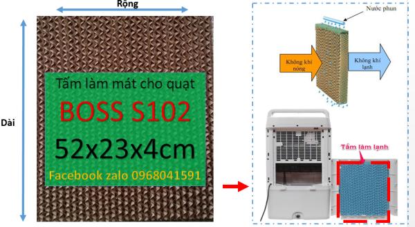 Tấm làm mát Cooling pad chuyên dụng cho quạt điều hòa Boss S102 (màu nâu và xanh) kích thước 52x23x4cm (có kèm chia nước))