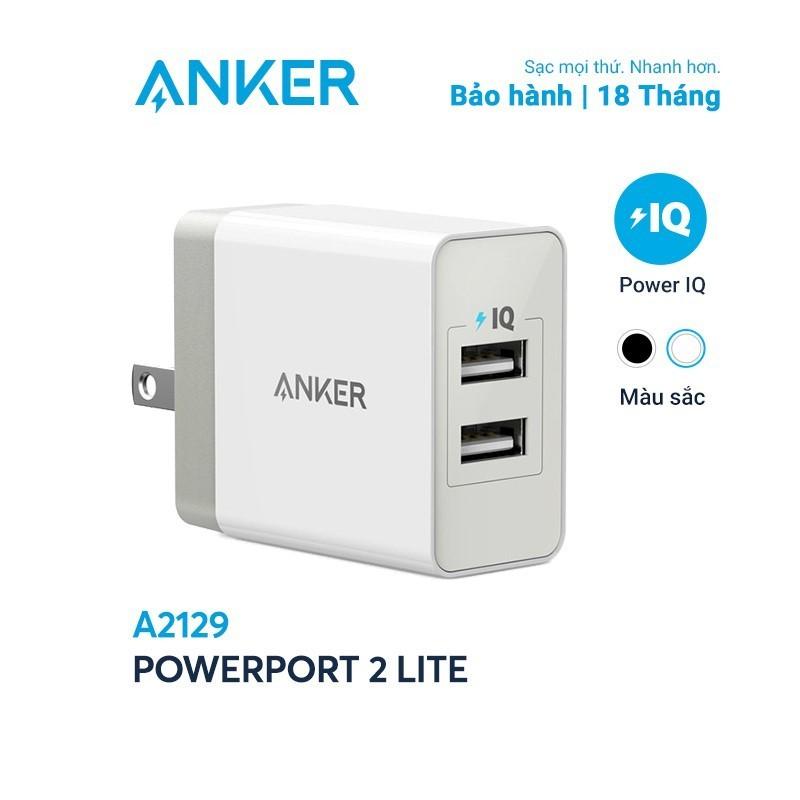 Sạc ANKER PowerPort 2 Lite 2 cổng PowerIQ 12W - A2129 - hàng chính hãng - Củ sạc iphone