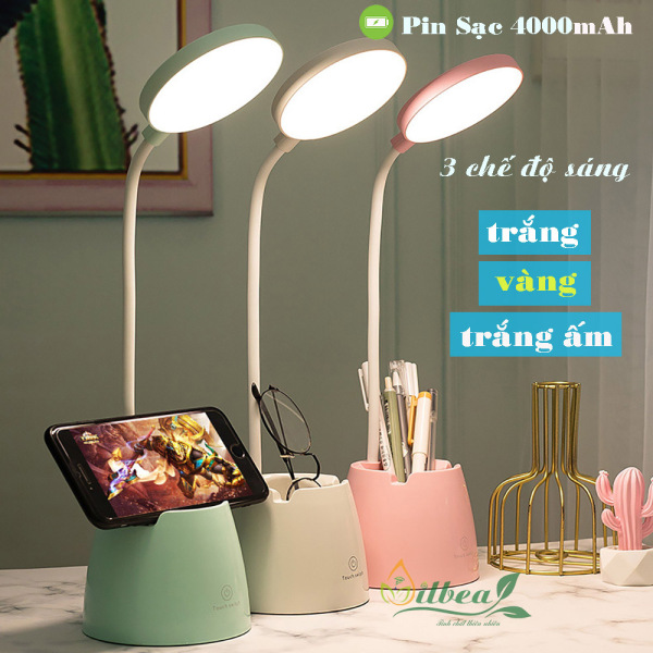 Bảng giá Đèn học để bàn có ánh sáng vàng chống cận thị sạc pin tích điện pin 4000mAh tăng giảm được độ sáng SL-906
