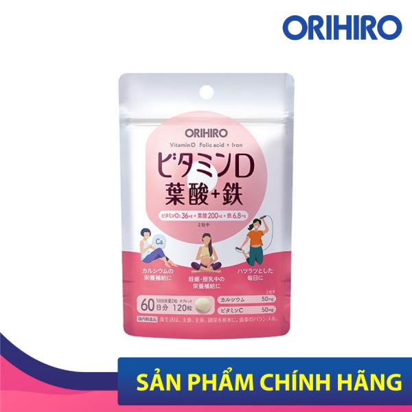 Viên uống bổ sung vitamin D, axit folic, sắt Orihiro 120 viên
