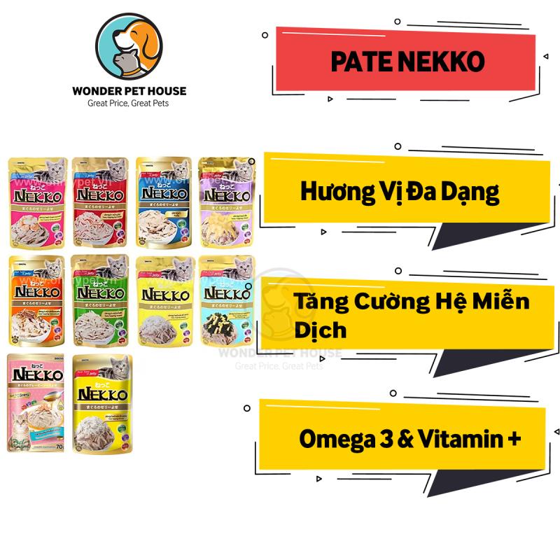 [PATE NEKKO] Gói Cho Mèo 70g - Pate Vitamin Mượt Lông - Pate Cá Gà Hải Sản Phô Mai