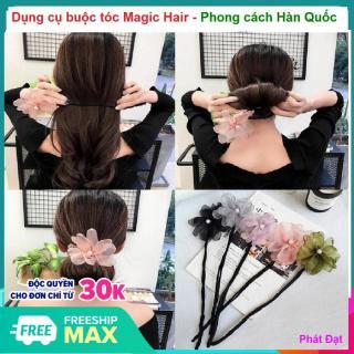 (Có video hướng dẫn buộc tóc) Dụng cụ buộc tóc Magic Hair - Dây buộc tóc - phụ kiện chăm sóc tóc cho phụ nữ, Thanh búi tóc kèm nơ hoa độc đáo thumbnail
