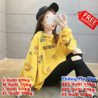 [Freeship toàn quốc] áo hoodie nữ form rộng tay dài, Áo Hoodie Nỉ Có Nón Cute Cao Cấp Trẻ Trung Thời Trang mới hót 2020 tom & jerry BL HD09 thumbnail