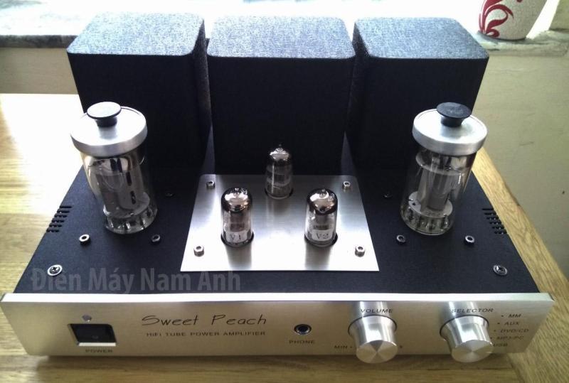 Amply đèn Sweet Peach bóng FU-50, tích hợp cổng phono, chất âm ngọt ngào, mềm mại (Mặt bạc)