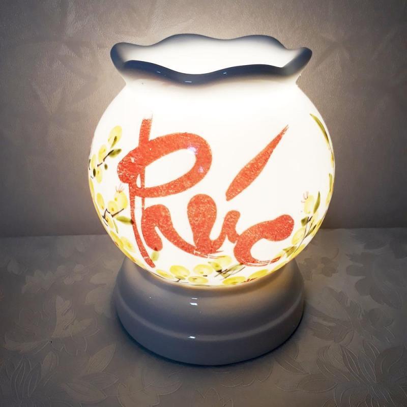 Đèn xông tinh dầu hình Tròn sứ cao cấp Việt Nam vẽ thủ công  kiêm đèn ngủ - Hàng Bán Chạy  - KM