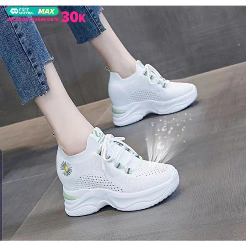 giày độn đế nữ cao 7cm vải lưới co giản cực êm cực thoáng giá rẻ