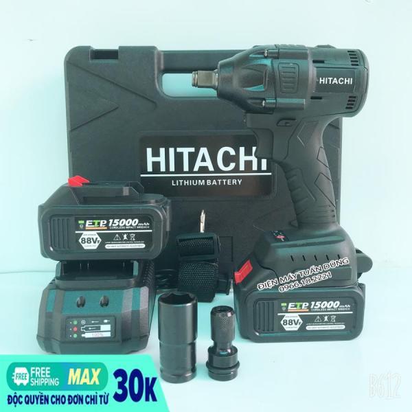[Fullbox] Máy vặn bulong Hitachi 88v, 2 pin, Kèm đầu chuyển vít và đầu khẩu 22