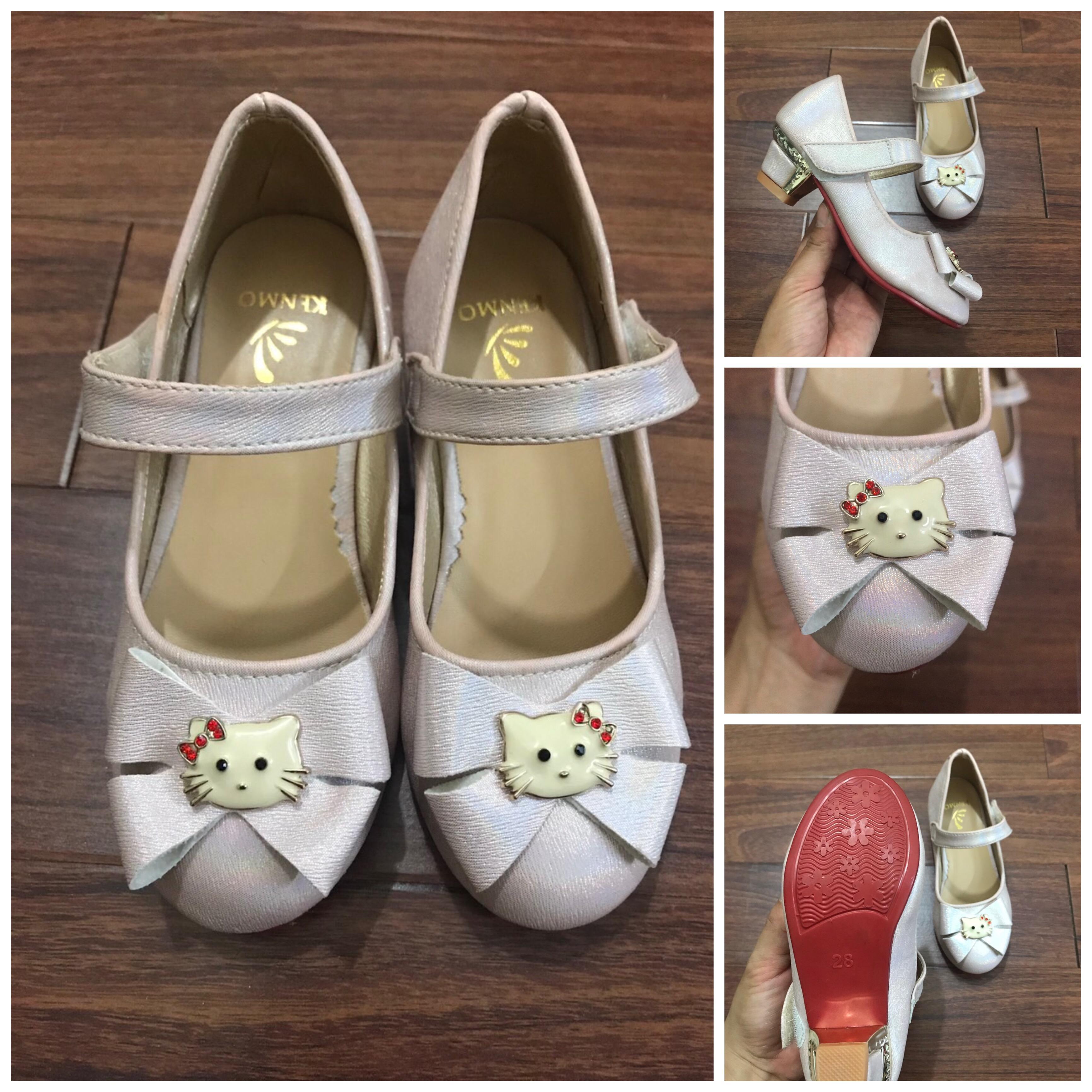 Giá bán Mẫu mới 2020 - Giày cao gót 3cm bé gái Kitty - Màu hồng phấn