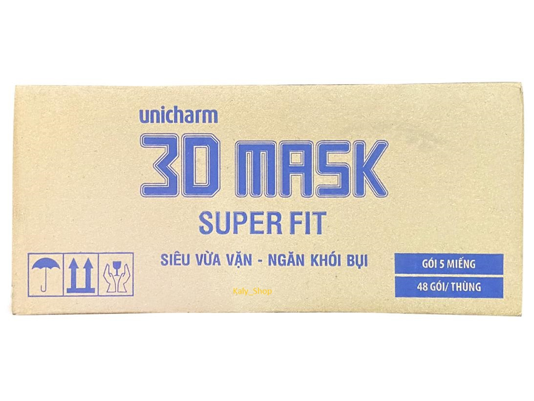 (1Thùng/48 gói) Khẩu Trang 3D Mask Unicharm Super Fit ( MADE IN JAPAN )