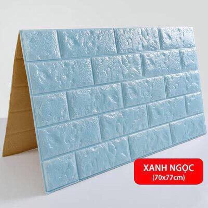 Combo 10 Tấm Miếng xốp dán tường giả gạch trắng 3D - Khổ 70 x 77cm - Dán 5m Vuông