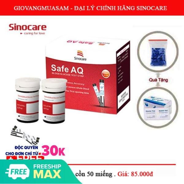 Hộp 50 que thử đường huyết Sinocare Safe AQ + Tặng 50 kim lấy máu bán chạy