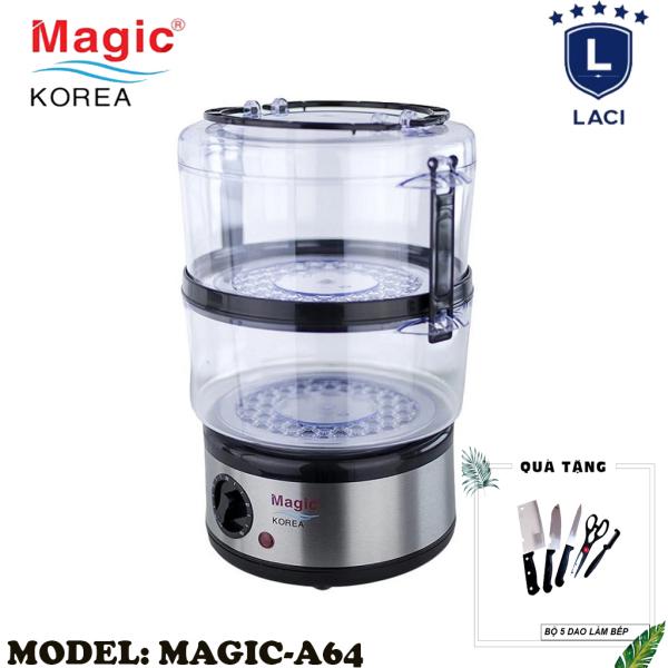 Máy Hấp Thực Phẩm Magic Korea A64 | Dung Tích Chứa 5L | Thiết Kế 2 Tầng Riêng Biệt | Công Suất 500W | Vừa Con Gà 1.2kg | Bảo Hành Chính Hãng 12 Tháng | Tặng Bộ Dao Làm Bếp 5 Món