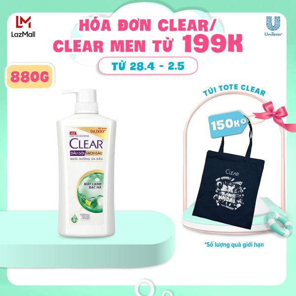 Dầu Gội Clear Mát Lạnh Bạc Hà Sạch Gàu (880g) giá rẻ