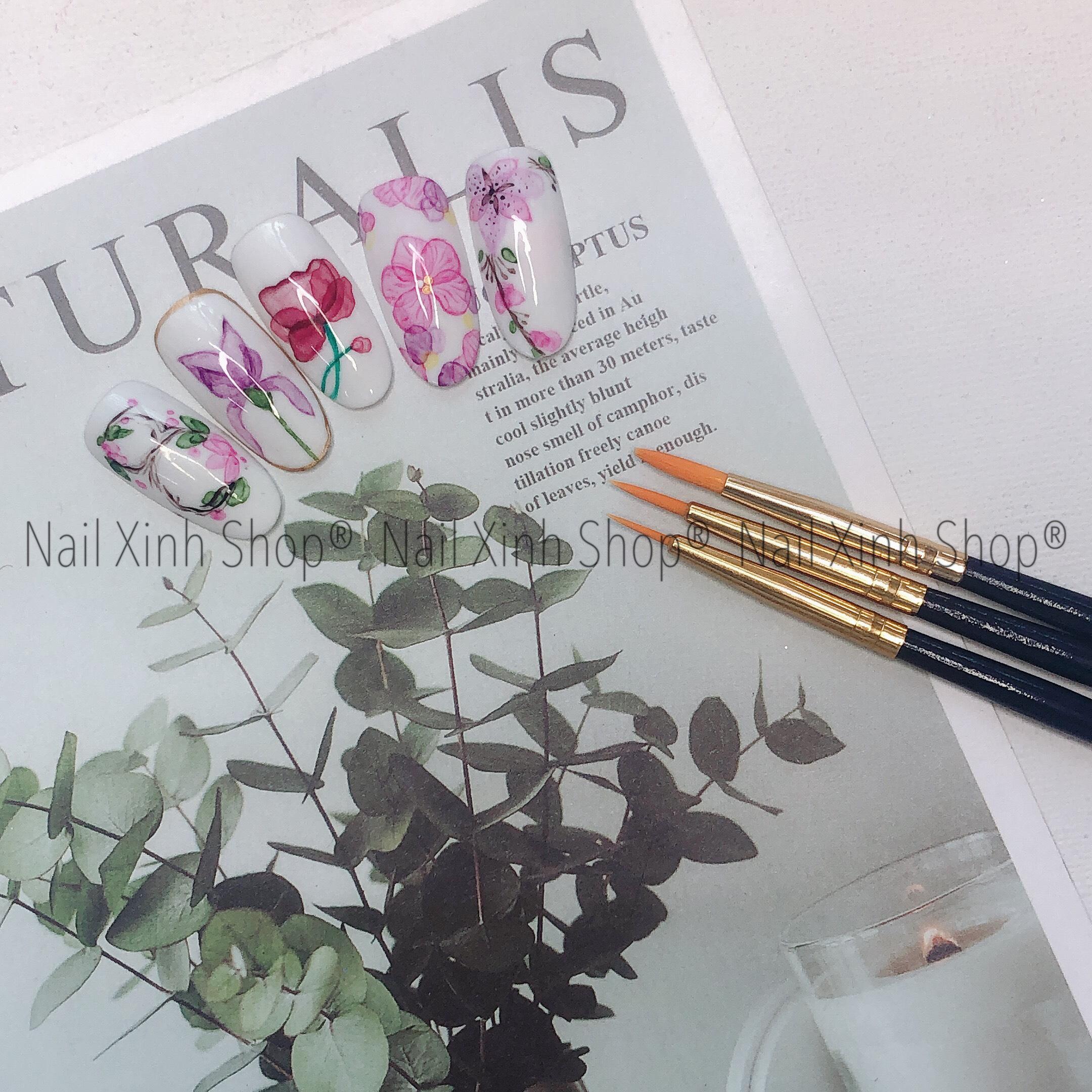 Set cọ vẽ gel 3 nét, tô gel uv da dụng, phụ kiện làm nail chuyên nghiệp (1 set 3 cọ nét mảnh, nét vừa, nét to)