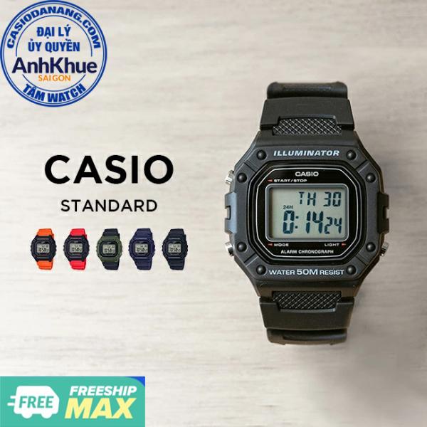 Đồng hồ nam dây nhựa Casio Standard chính hãng Anh Khuê W-218 Series
