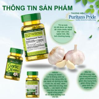 Dầu tỏi Garlic oil 1000mg của Mỹ tốt hơn 100 lần tinh dầu tỏi diep chi tăng cường hệ miễn dịch, phòng ngừa cảm cúm, giảm cholesterol, xơ vữa động mạch, Vitamin Mỹ Puritan s Pride 10 viên dùng thử 3