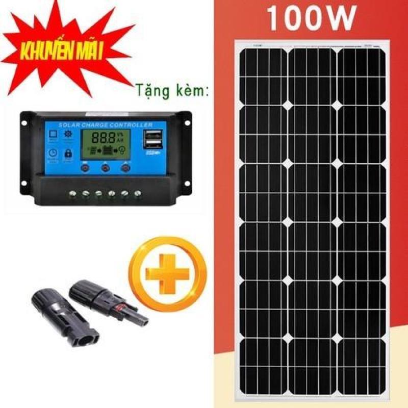 Tấm pin năng lượng mặt trời Mono 100w tặng kèm điều khiển sạc  10A LCD + jack MC4
