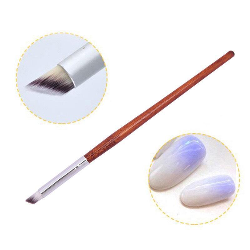 Cọ ombre cán gỗ cao cấp (cọ đầu tròn, bản xéo) dặm móng, vẽ nail chuyên nghiệp