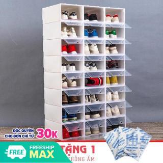COMBO 10 Hộp Đựng Giày Nắp Nhựa Trong Suốt Chịu Lực 4kg - Tặng Kèm Gói Hút Ẩm thumbnail