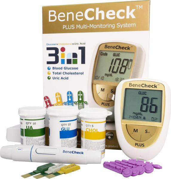 Máy đo đường huyết, mỡ máu, gút BeneCheck cao cấp