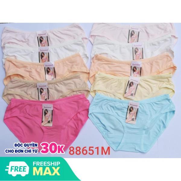 [50kg-68kg vừa]Combo 10 Quần lót nữ Thái Lan (Màu Trắng và nhiều màu ) 100% Thun Cotton thoáng mát phù hợp cho đồng phục học sinh thấm hút thoải mái cả ngày - Form to (No.88651)