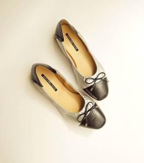 Giày Búp Bê Da Thật Mũi Vuông Mix Màu AD by Sullily màu bạc mang êm chân