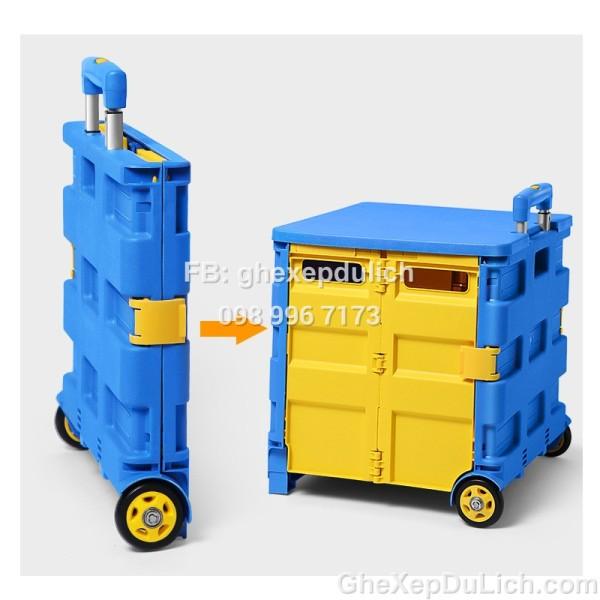 Thùng Nhựa Xe Hơi 65L Kết Hợp Xe Đẩy Đi Chợ, Ghế Ngồi Đa Năng Có Thể Gấp Gọn