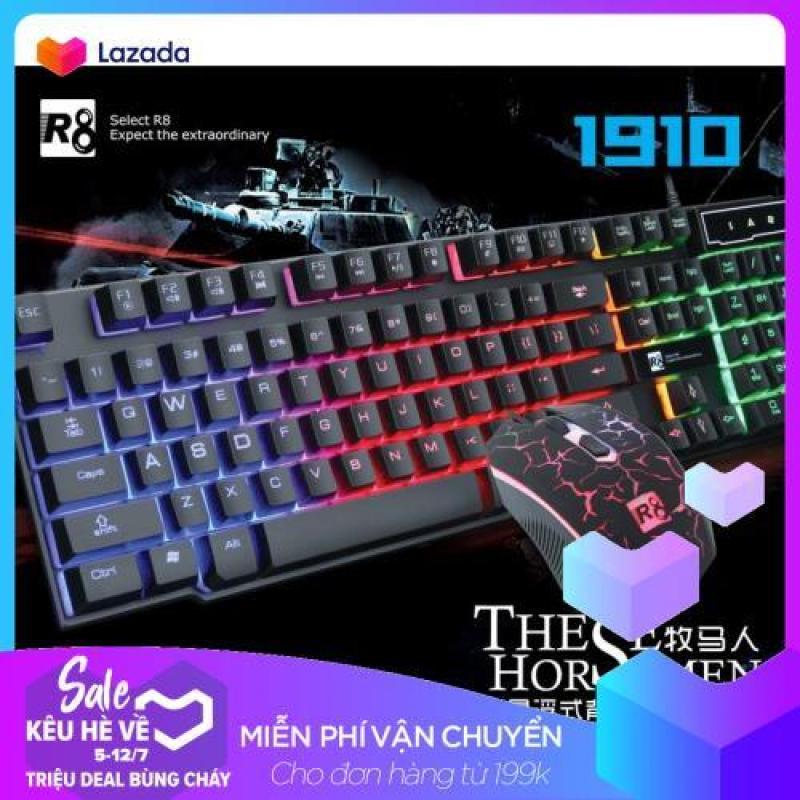 (TẶNG LÓT CHUỘT) Bộ bàn phím giả cơ và chuột chuyên game R8 1910 Led 7 màu